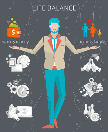 people work: Concept of work and life balance  dividing of human energy between important life spheres  Vector illustration.