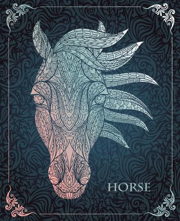 totem indiano: Modellata testa del cavallo sullo sfondo floreale. Africano  disegno  totem  tatuaggio indiano. Pu� essere usato per la progettazione di una maglietta, sacchetto, cartolina, un poster e cos� via. Vettoriali