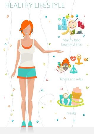 Concept gezonde levensstijl / jonge vrouw met haar goede gewoonten / fitness, gezonde voeding, metrics / vector illustratie / vlakke stijl Stockfoto - 44184331