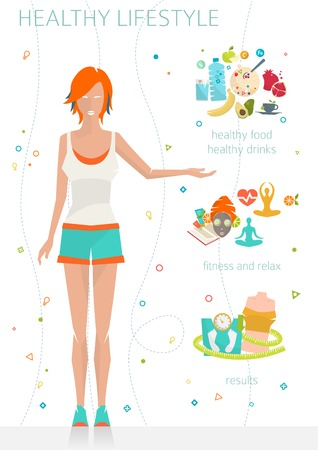 habitos saludables: Concepto de estilo de vida saludable  mujer joven con su buenos hábitos  gimnasio, comida sana, métricas  ilustración del vector  estilo plano