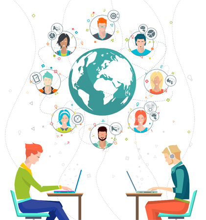 Global business concept. Communication in the global networks. Multitasking in business. Long-distance administration and management. Concept of social media network.  Vector illustration. 일러스트
