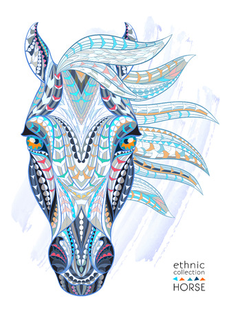 animal hair: Patterned head of the horse on the grunge background. African  indian  totem  tattoo design. It may be used for design of a t-shirt, bag, postcard, a poster and so on.