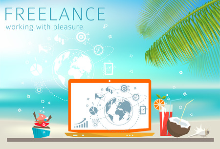 Freelance concept. Laptop on the beach. Feel of relax. Work with pleasure. Stock fotó - 44184336