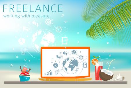 Zelfstandige concept. Laptop op het strand. Voel van ontspanning. Werken met plezier. Stock Illustratie