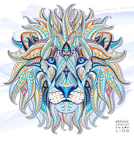 Cabeza modelada del león en el fondo del grunge. Diseño  totem  tatuaje de África  India. Puede ser utilizado para el diseño de una camiseta, bolso, tarjeta postal, un cartel y así sucesivamente.