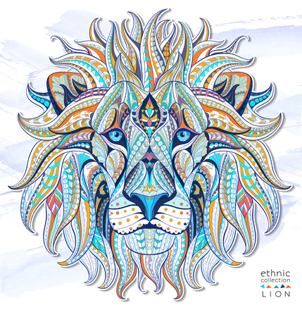 illustration zoo: Patterned head of the lion on the grunge background. African  indian  totem  tattoo design. It may be used for design of a t-shirt, bag, postcard, a poster and so on.