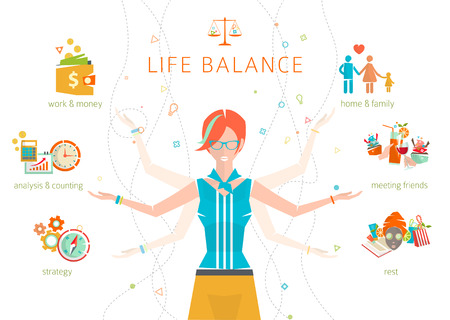multitasking: Concept of work and life balance  dividing of human energy between important life spheres  Vector illustration.