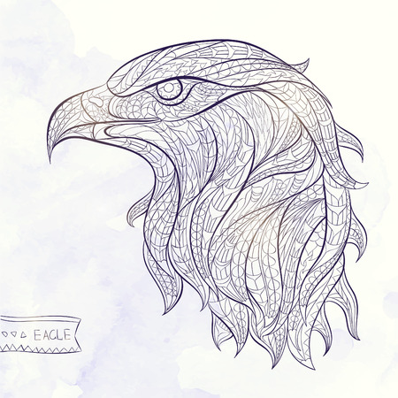 head wise: Patterned head of eagle on the watercolor background. African  indian  totem  tattoo design. It may be used for design of a t-shirt, bag, postcard, a poster and so on.