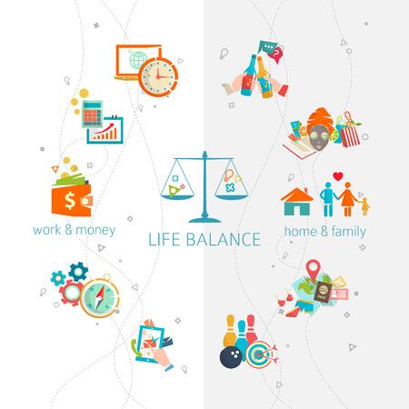 仕事と生活のバランスの概念重要な生命球間の人間のエネルギーの分割ベクトル イラスト。