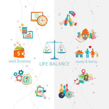 equilibrio: Concepto de trabajo y conciliación de la vida  de división de la energía humana entre importantes esferas  Vector ilustración vida. Vectores
