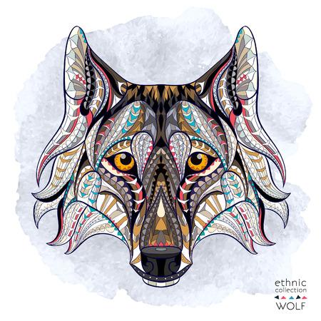 Patroon hoofd van de wolf op de grunge achtergrond. Afrikaanse  Indisch  totem  tattoo ontwerp. Het kan worden gebruikt voor het ontwerp van een t-shirt, tas, briefkaart, een poster en ga zo maar door. Stock Illustratie