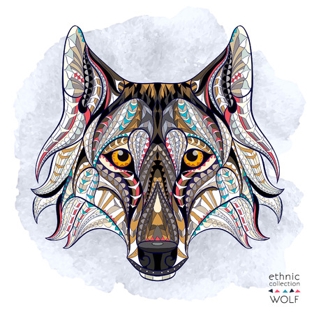 Patterned head of the wolf on the grunge background. African  indian  totem  tattoo design. It may be used for design of a t-shirt, bag, postcard, a poster and so on.