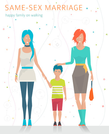 female sex: Concept of same-sex marriage. Happy family is going for a walk. Two  mothers and son. Flat vector illustration.