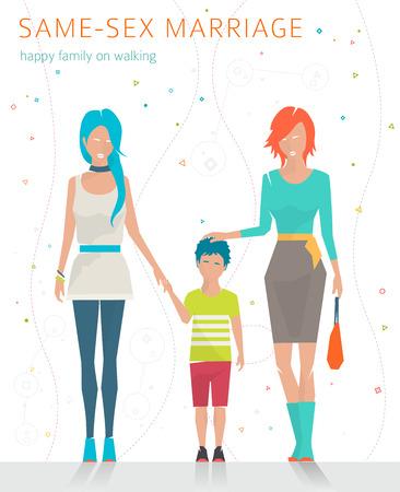 sex: Konzept der gleichgeschlechtlichen Ehe. Glückliche Familie für einen Spaziergang wird. Zwei Mütter und Sohn. Flache Vektor-Illustration.