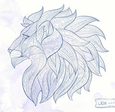 totem indiano: Capo Patterned del leone sullo sfondo del grunge. Africano  disegno  totem  tatuaggio indiano. Pu� essere usato per la progettazione di una maglietta, sacchetto, cartolina, un poster e cos� via.