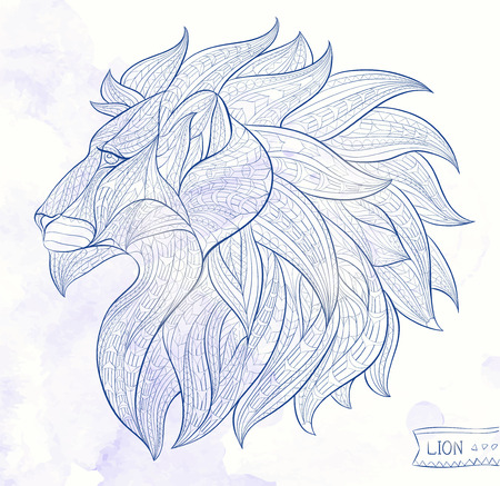 Patterned head of the lion on the grunge background. African / indian / totem / tattoo design. It may be used for design of a t-shirt, bag, postcard, a poster and so on. Stock Illustratie