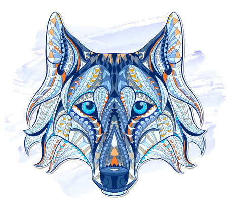 wolves: Patterned head of the wolf on the grunge background. African  indian  totem  tattoo design. It may be used for design of a t-shirt, bag, postcard, a poster and so on.