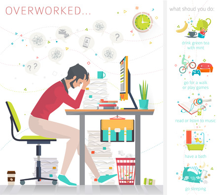 Concept of overworked man. Man has burned out on his workplace because of many tasks and deadlines. Tips what to do in oder to recover strength. Flat vector illustration.