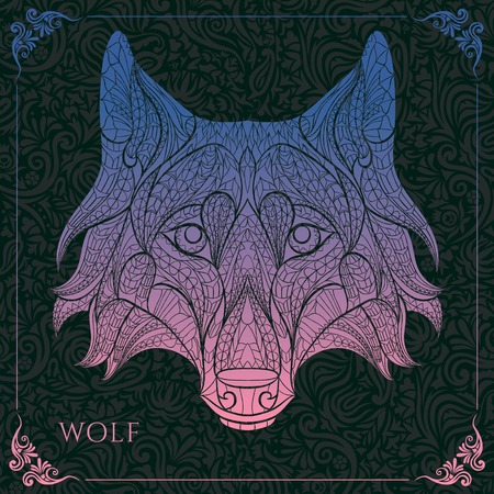 invader: Patterned head of the wolf on the floral background. African  indian  totem  tattoo design. It may be used for design of a t-shirt, bag, postcard, a poster and so on.