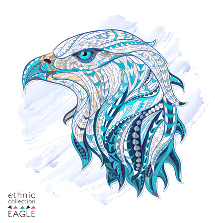 DESIGN: Patterned head of eagle on the watercolor background. African  indian  totem  tattoo design. It may be used for design of a t-shirt, bag, postcard, a poster and so on.