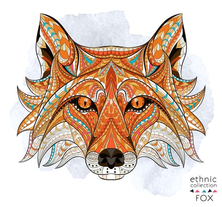 Patterned head of the red fox on the grunge background. African  indian  totem  tattoo design. It may be used for design of a t-shirt, bag, postcard, a poster and so on. Иллюстрация
