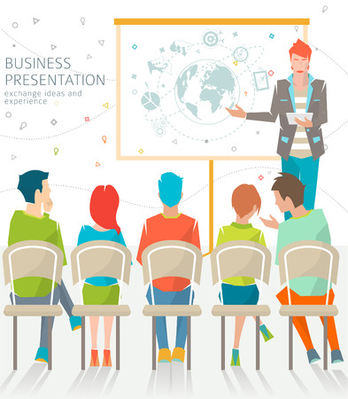 grupos de personas: Concepto de negocio de reuniones  intercambiar ideas y experiencias  personas coworking  colaboración y la ilustración de discusión  presentación  vector.