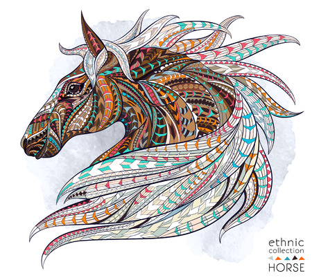 Patterned head of the horse on the grunge background. African / indian / totem / tattoo design. It may be used for design of a t-shirt, bag, postcard, a poster and so on. 版權商用圖片 - 44184530
