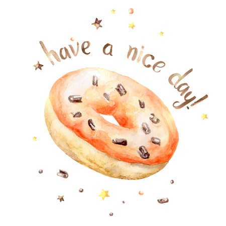 fudge: Sweet delicious watercolor orange donut with typography. Wish card.Have a nice day. Illustration