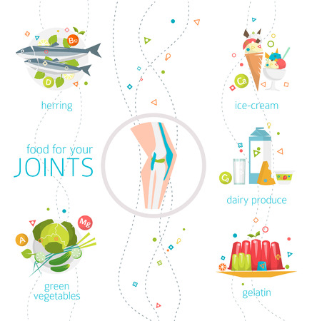 Concept of food and vitamins, which are healthy for your joints / vector illustration / flat style