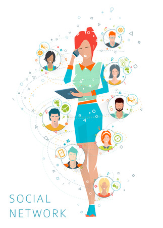 COLABORACION: Concepto de la red de medios de comunicación social. Mujer es un elemento de unión entre las personas. Administración de larga distancia y la gestión. La colaboración de diferentes personas. Ilustración del vector.