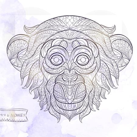 グランジ背景にサルの柄の頭。アフリカインドトーテムタトゥー デザイン。T シャツ、バッグ、ポストカード、ポスターのデザインなどなど使用