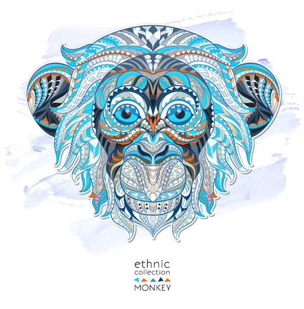 monkey face: Patterned head of the monkey on the grunge background. African  indian  totem  tattoo design. It may be used for design of a t-shirt, bag, postcard, a poster and so on.