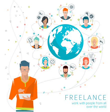 Global business concept. Communication in the global networks. Multitasking in business. Long-distance administration and management. Concept of social media network.  Vector illustration. Vectores