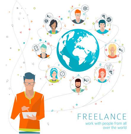 medios de comunicaci�n social: Concepto del asunto global. La comunicaci�n en las redes mundiales. Multitarea en el negocio. Administraci�n de larga distancia y la gesti�n. Concepto de la red de medios de comunicaci�n social. Ilustraci�n del vector.