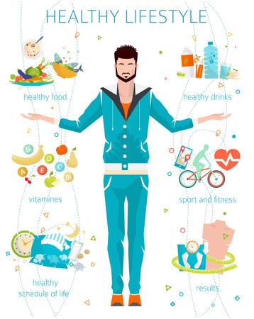 buena salud: Concepto de estilo de vida saludable  hombre joven con su buenos hábitos  gimnasio, comida sana, métricas  ilustración vectorial  estilo plano