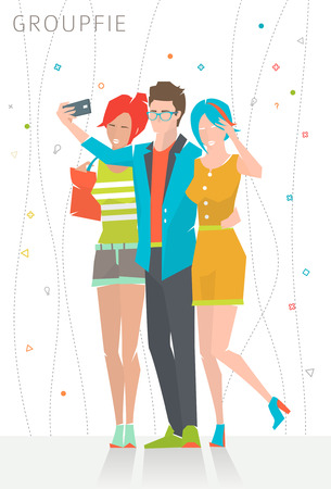 Concept of taking selfie photo on smart phone    three young people are making photo together   vector illustration Çizim