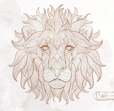 Patroon hoofd van de leeuw op de grunge achtergrond. Afrikaanse  Indisch  totem  tattoo ontwerp. Het kan worden gebruikt voor het ontwerp van een t-shirt, tas, briefkaart, een poster en ga zo maar door. Stock Illustratie