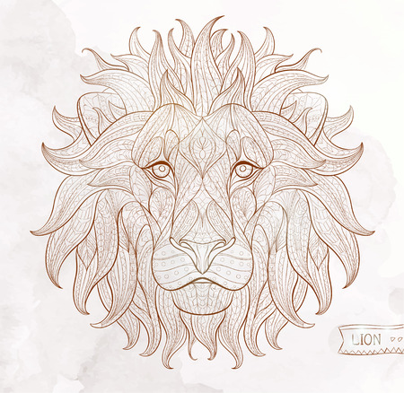 Patterned head of the lion on the grunge background. African / indian / totem / tattoo design. It may be used for design of a t-shirt, bag, postcard, a poster and so on. Çizim