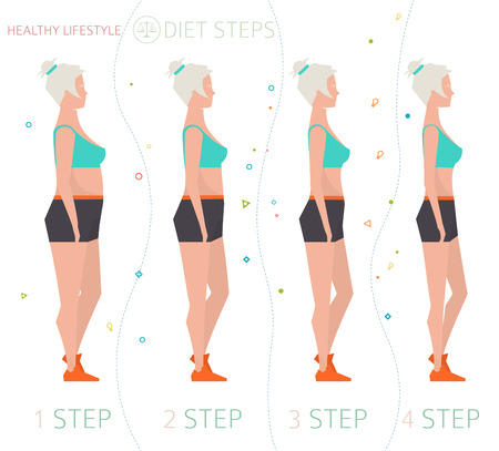 weight loss: Concept of healthy lifestyle  weight loss diet steps  woman with different body mass index  vector illustration  flat style