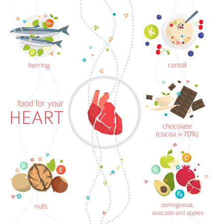 woman eating: Concept of food and vitamins, which are healthy for your heart  vector illustration  flat style Illustration
