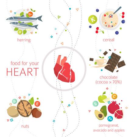hombre comiendo: Concepto de comida y vitaminas, que son saludables para el corazón ilustración  vector  estilo plano