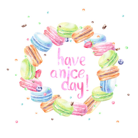 fudge: Sweet delicious watercolor macarons with typography. Wish card.Have a nice day. Illustration