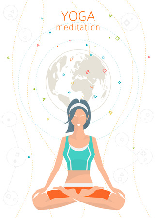 woman pose: Concept of healthy lifestyle  young woman practices yoga  yoga meditation  Padmasana  Lotus pose  vector illustration  flat style