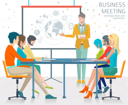 discussion meeting: Concept of business meeting  exchange ideas and experience  coworking people  collaboration and discussion  presentation  vector illustration. Illustration