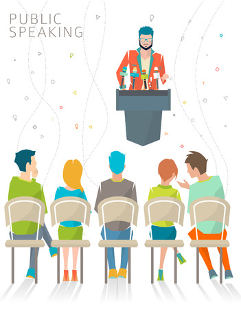 press conference: Concept of public speaking  speakers stand  press conference  vector illustration. Illustration