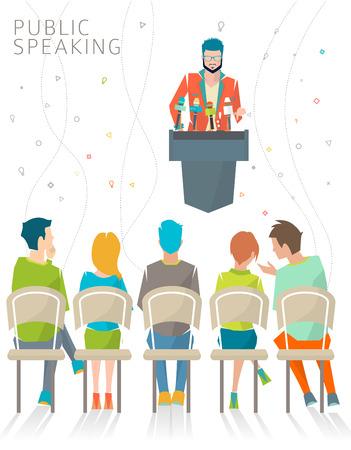 rueda de prensa: Concepto de soporte  press ilustraci�n conferencia  vector p�blico de habla  del altavoz.