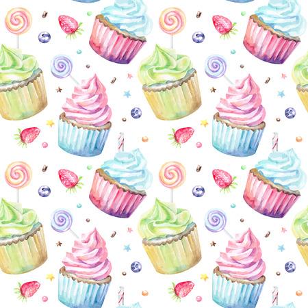 カップケーキの甘いおいしい水彩パターン。手描きの背景。ベクトルの図。  イラスト・ベクター素材