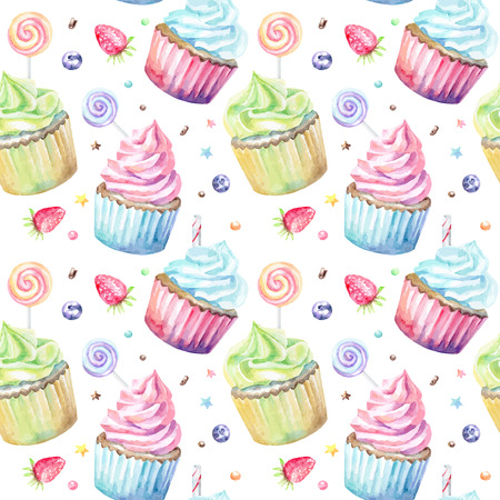 sweet food: Sweet delicious watercolor pattern with cupcakes. Hand-drawn background. Vector illustration.