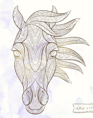 wild horses: Patterned head of the horse on the grunge background. African  indian  totem  tattoo design. It may be used for design of a t-shirt, bag, postcard, a poster and so on.