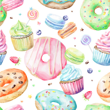 Sweet delicious watercolor pattern with macarons, cupcakes, donuts. Hand-drawn background. Vector illustration.